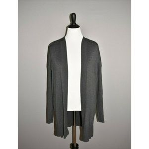 LANE BRYANT Gray Long Sleeve Open Knit Cardigan